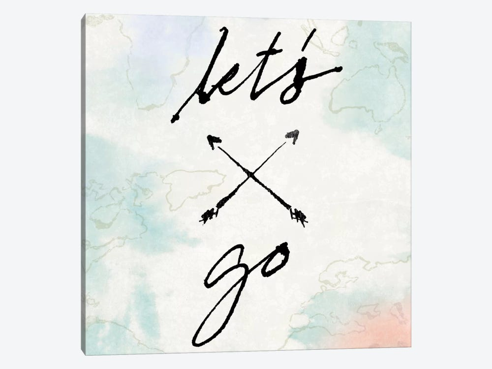 Mapped Shorelines Typography I (Let's Go) by Sue Schlabach 1-piece Canvas Print