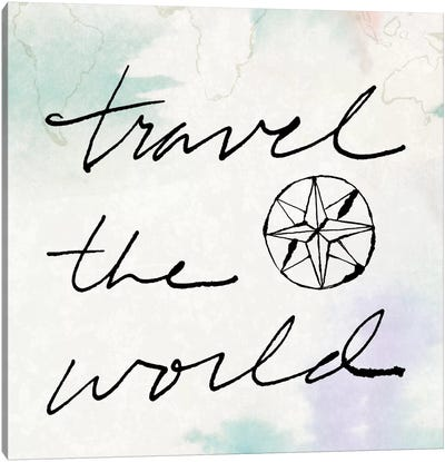 Mapped Shorelines Typography II (Travel The World) Canvas Print #WAC5260