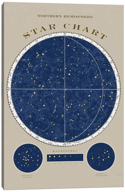 Northern Hemisphere Star Chart Canvas Art Print