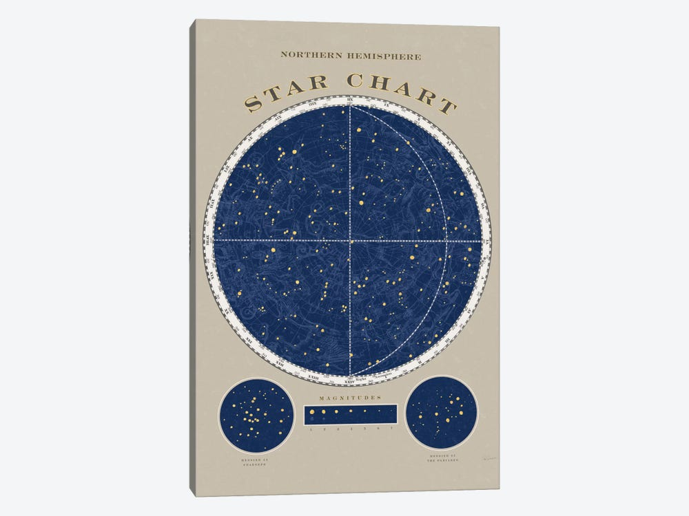Northern Hemisphere Star Chart 1-piece Canvas Art Print