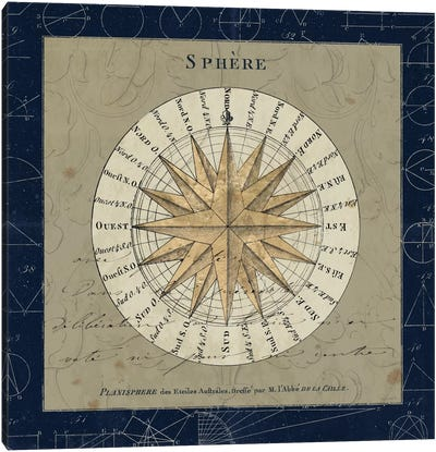 Planisphere Of The Stars On Blue Canvas Art Print