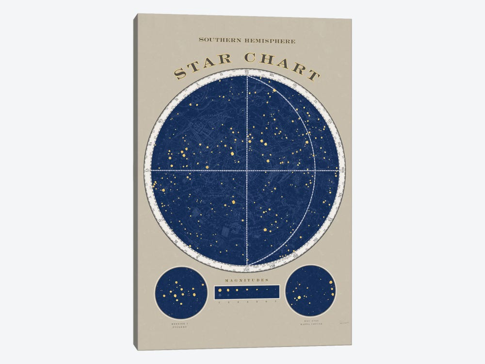 Southern Hemisphere Star Chart by Sue Schlabach 1-piece Canvas Artwork
