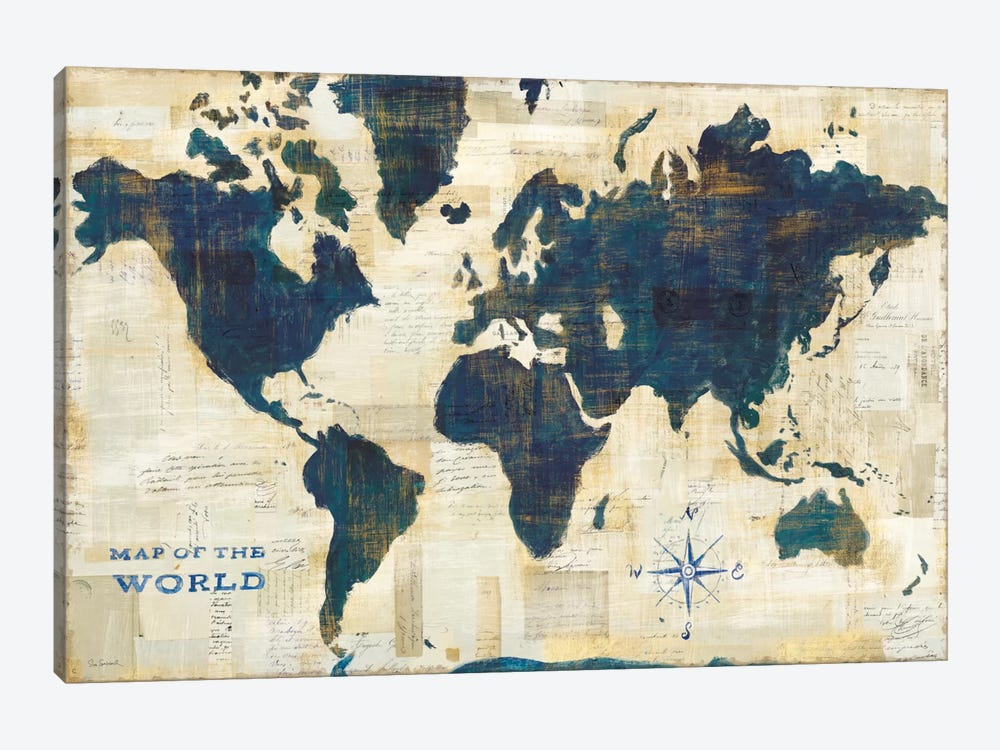 World map collage canvas wall art by sue schlabach icanvas world map collage by sue schlabach 1 piece canvas print gumiabroncs Image collections