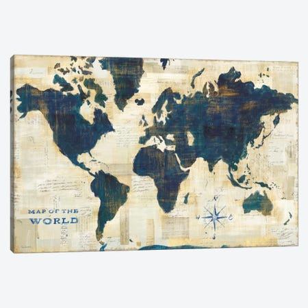 World Map Collage Canvas Print #WAC5279} by Sue Schlabach Art Print