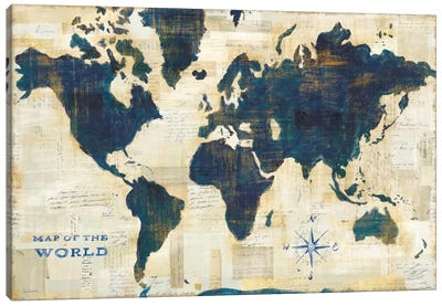 World Map Collage Canvas Art Print