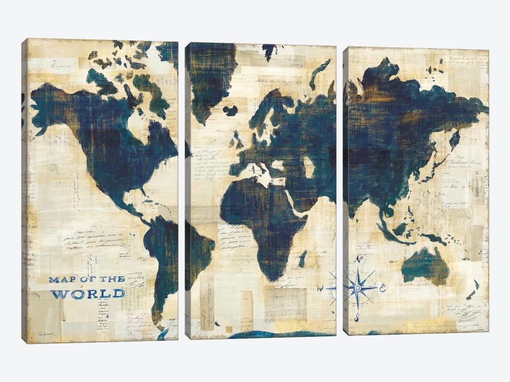 World Map Collage by Sue Schlabach 3-piece Canvas Print