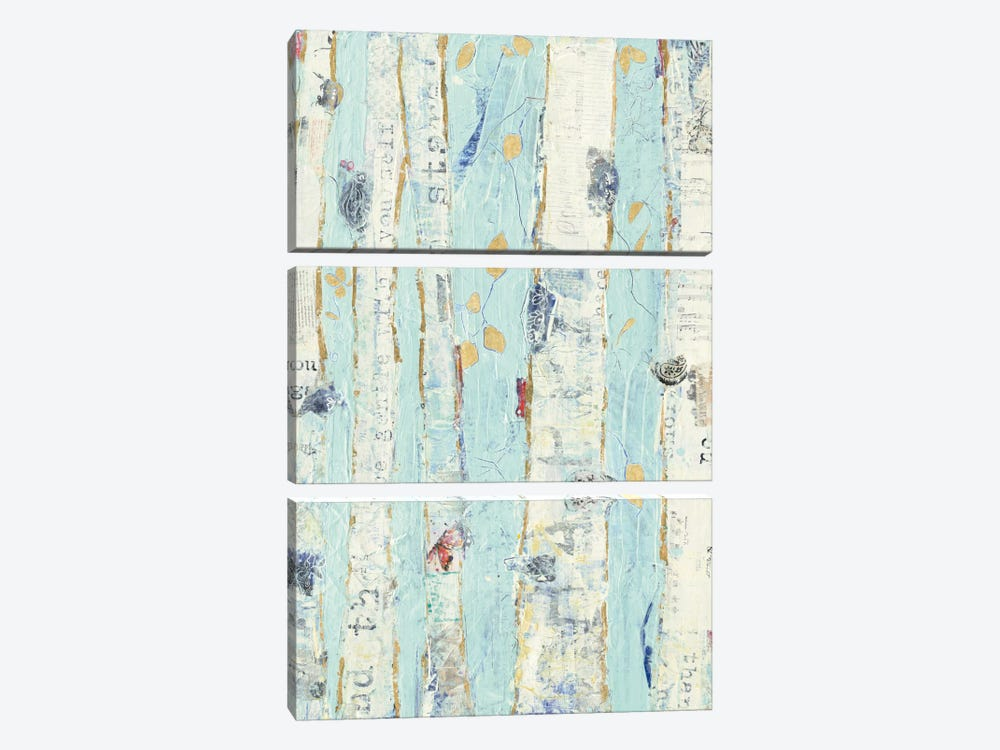 Far From Blue II Gold Leaves by Kellie Day 3-piece Art Print