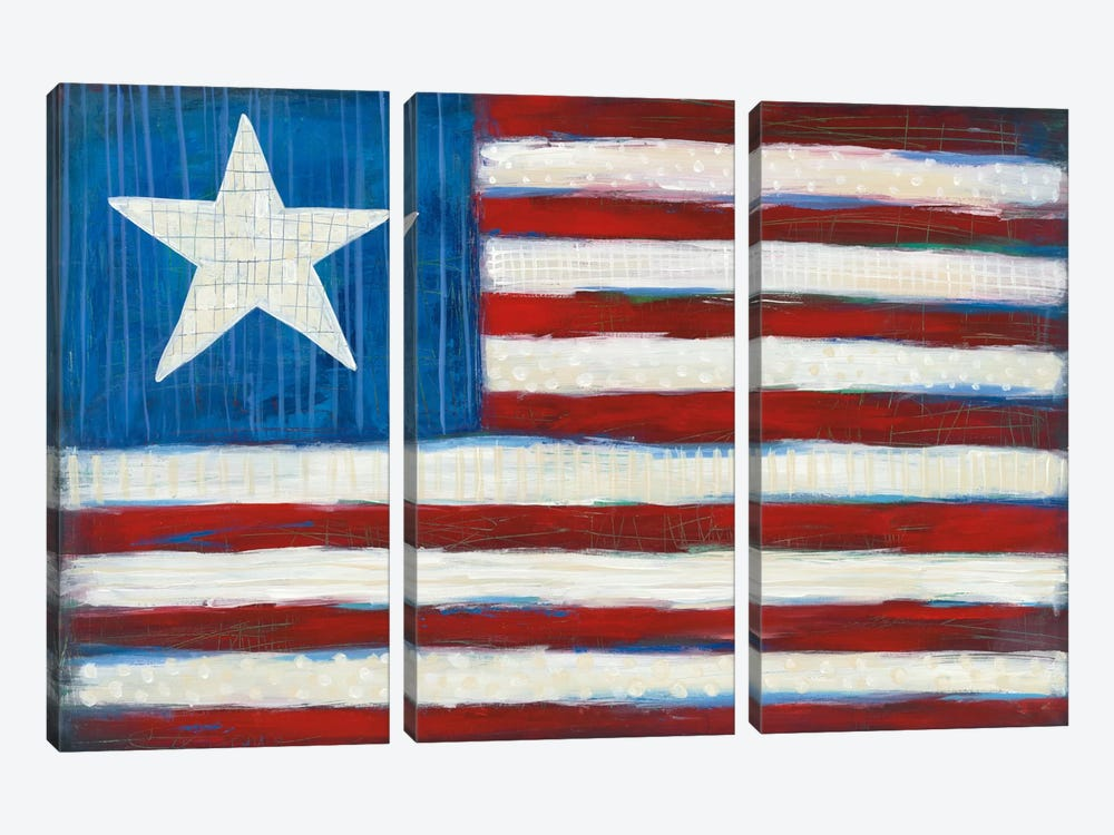 Modern Americana Flag by Melissa Averinos 3-piece Canvas Print