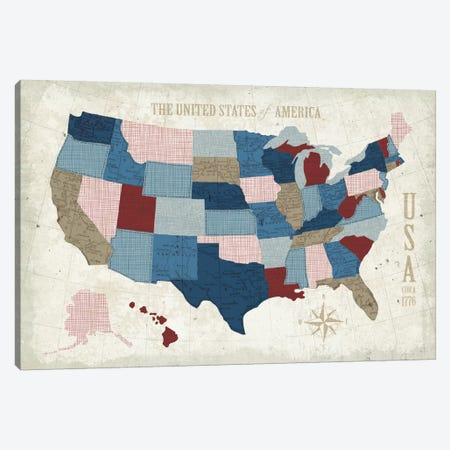 Modern Vintage Blue USA Map Canvas Print #WAC5381} by Michael Mullan Canvas Art Print