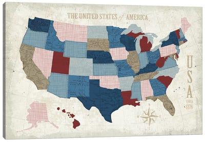 Modern Vintage Blue USA Map Canvas Print #WAC5381