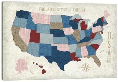 Modern Vintage Blue USA Map Canvas Art Print
