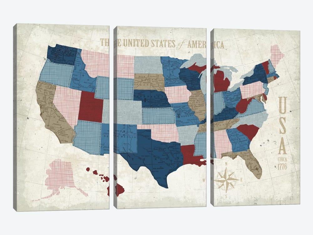 Modern Vintage Blue USA Map by Michael Mullan 3-piece Canvas Art Print