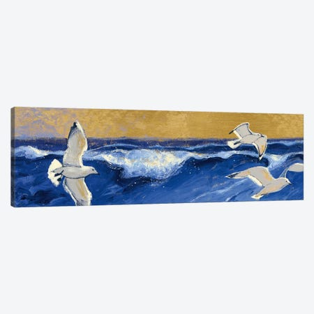 Seagulls with Gold Sky Crop Canvas Print #WAC5406} by Shirley Novak Art Print