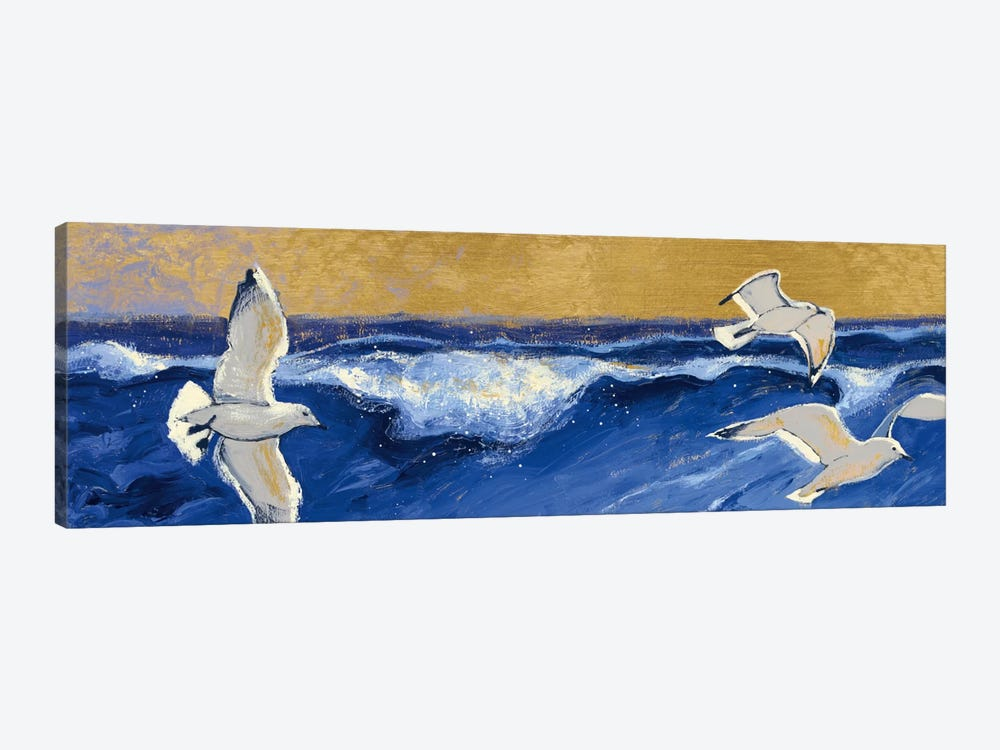 Seagulls with Gold Sky Crop by Shirley Novak 1-piece Canvas Print