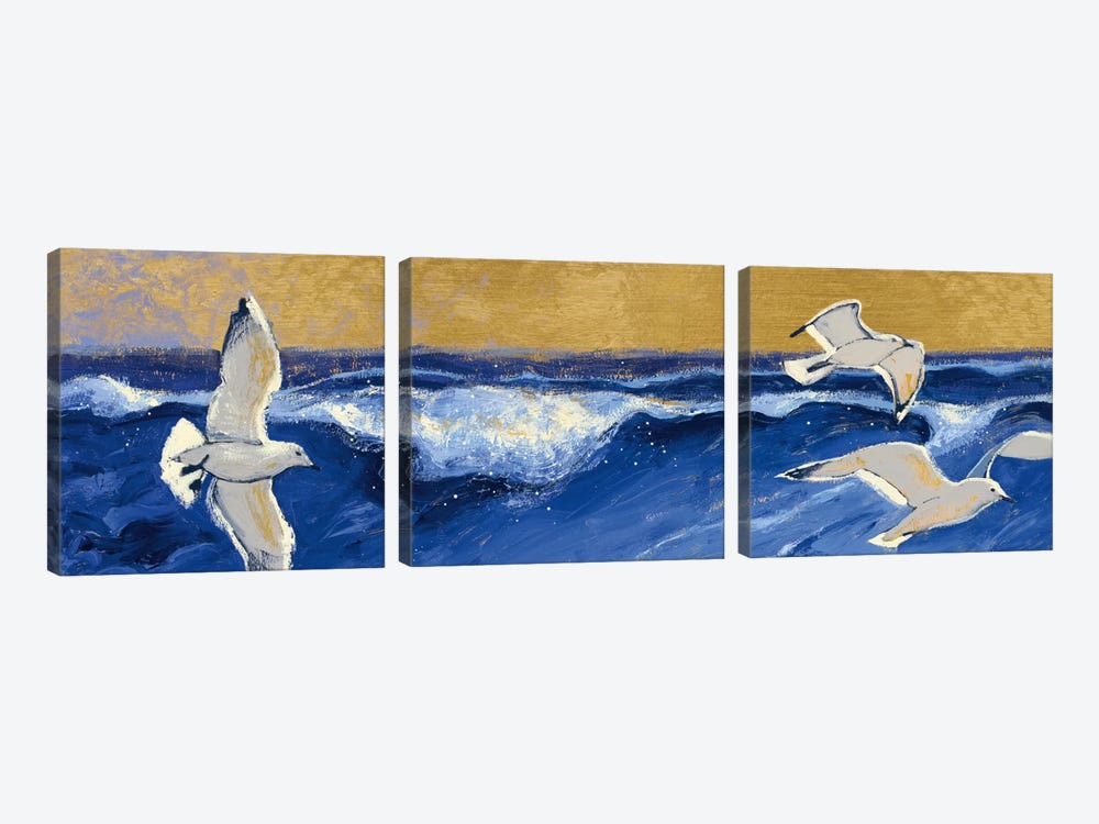 Seagulls with Gold Sky Crop by Shirley Novak 3-piece Canvas Print