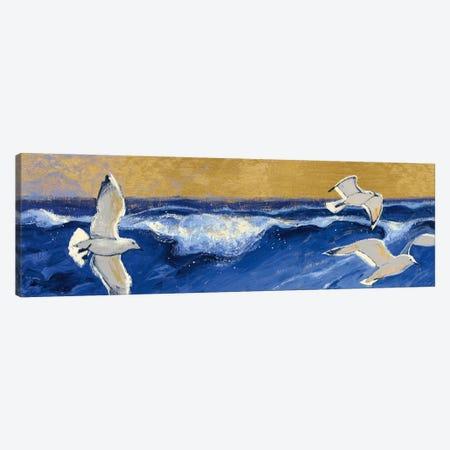 Seagulls with Gold Sky Crop Canvas Print #WAC5406} by Shirley Novak Art Print