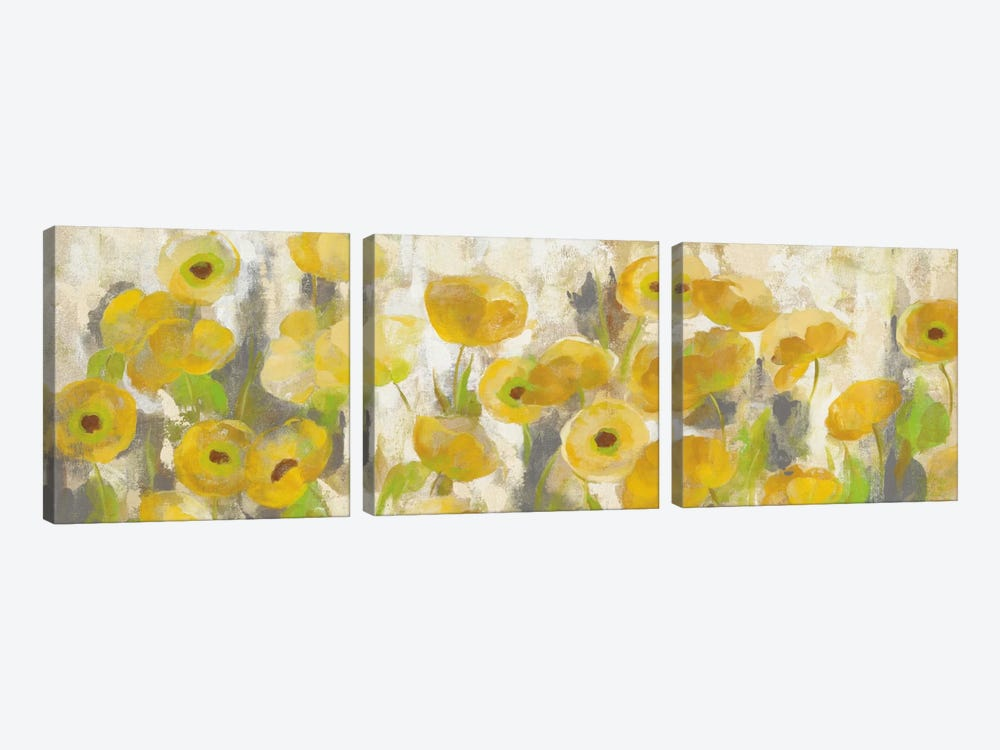 Floating Yellow Flowers I by Silvia Vassileva 3-piece Canvas Art