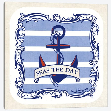On The Coast I w/Nautical Border Canvas Print #WAC5430} by Studio Mousseau Canvas Art Print