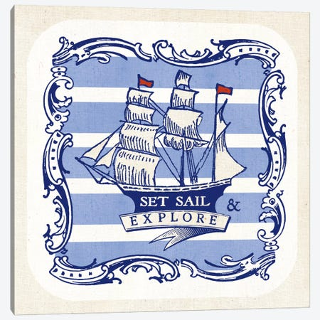 On The Coast II w/Nautical Border Canvas Print #WAC5432} by Studio Mousseau Canvas Print