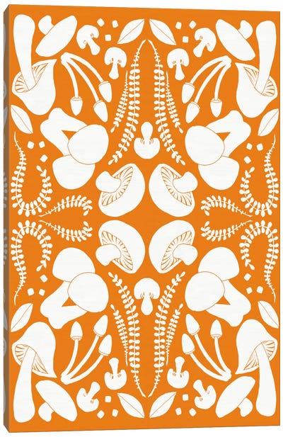 Retro Mushroom Otomi Silhouette Canvas Print #WAC5467