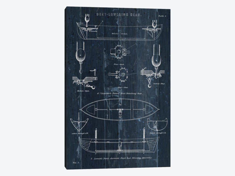 Boat Launching Blueprint II by Wild Apple Portfolio 1-piece Canvas Wall Art