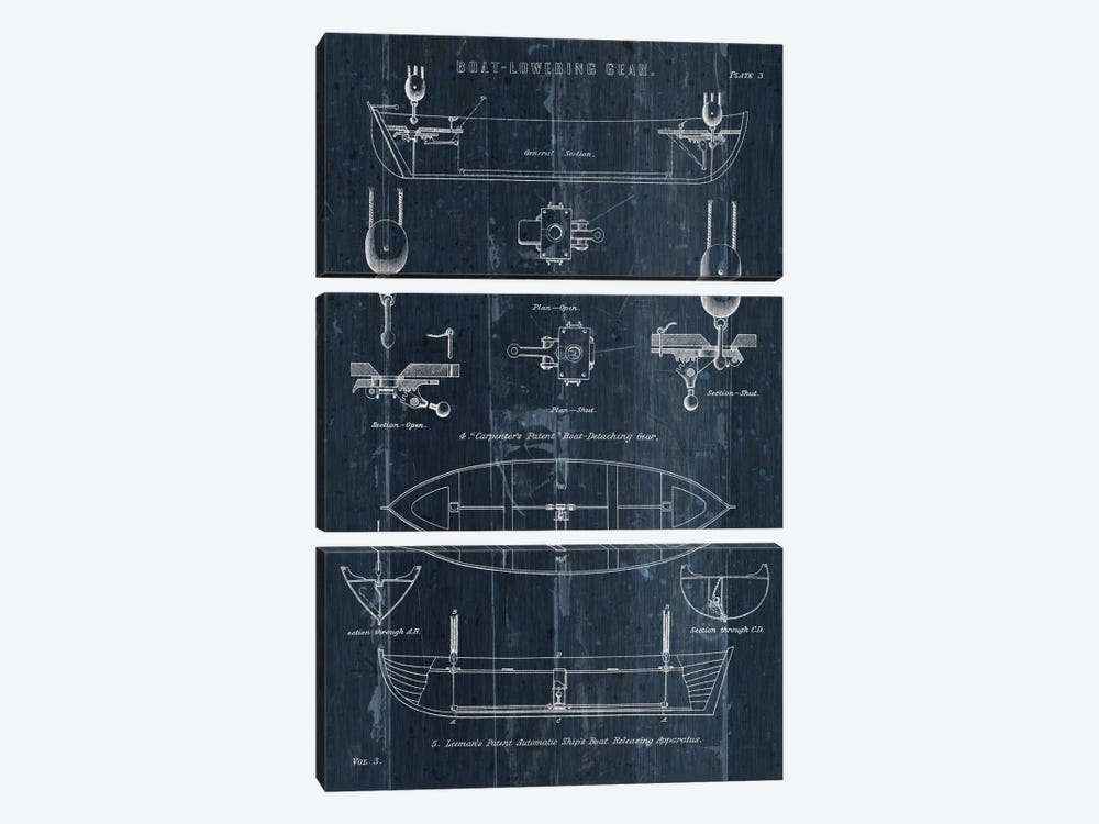 Boat Launching Blueprint II by Wild Apple Portfolio 3-piece Canvas Art