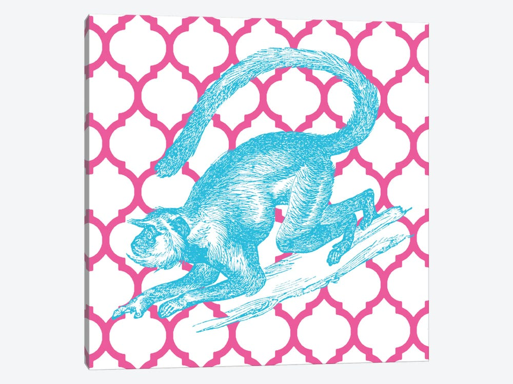 Bright Menagerie Monkey by Wild Apple Portfolio 1-piece Canvas Art Print