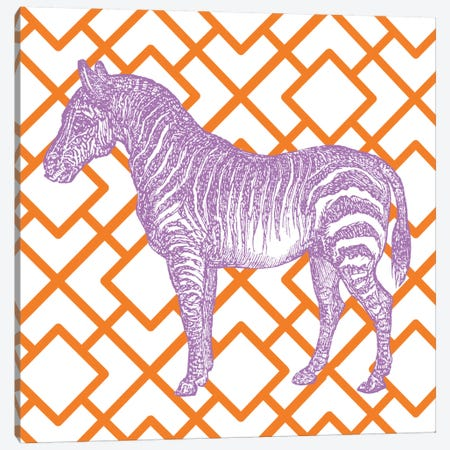 Bright Menagerie Zebra Canvas Print #WAC5485} by Wild Apple Portfolio Art Print