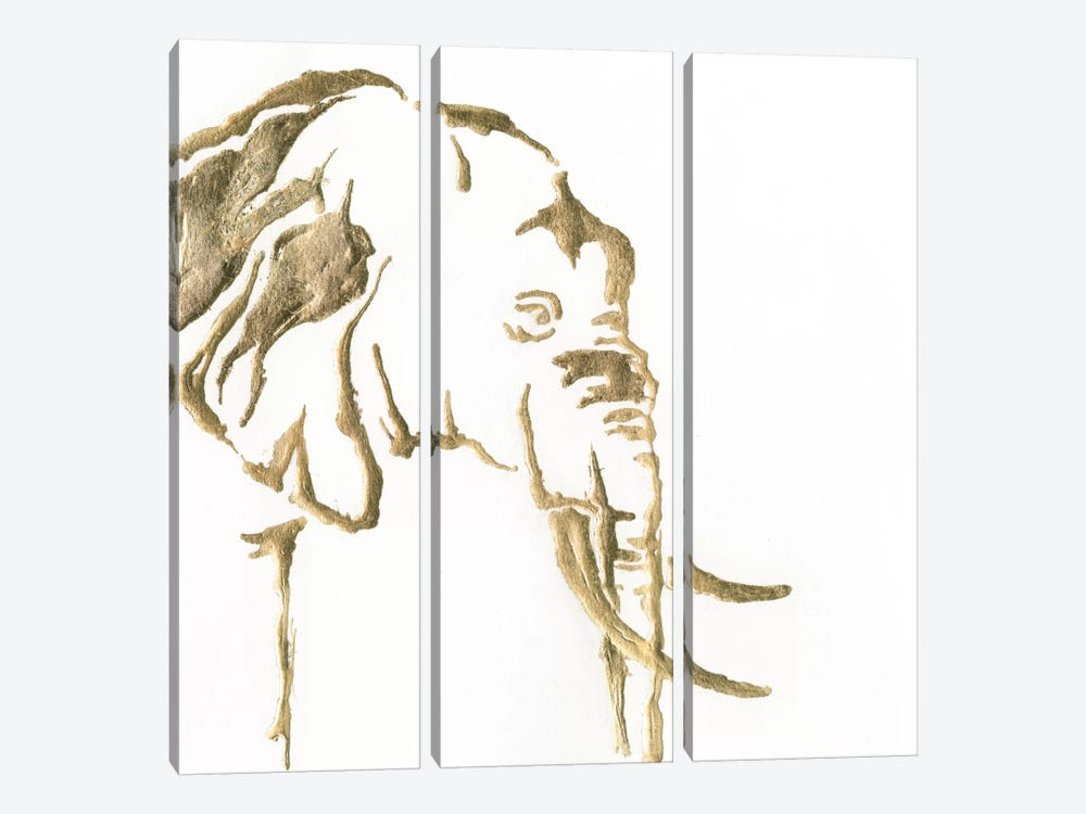 Gilded Elephant 3-piece Canvas Artwork