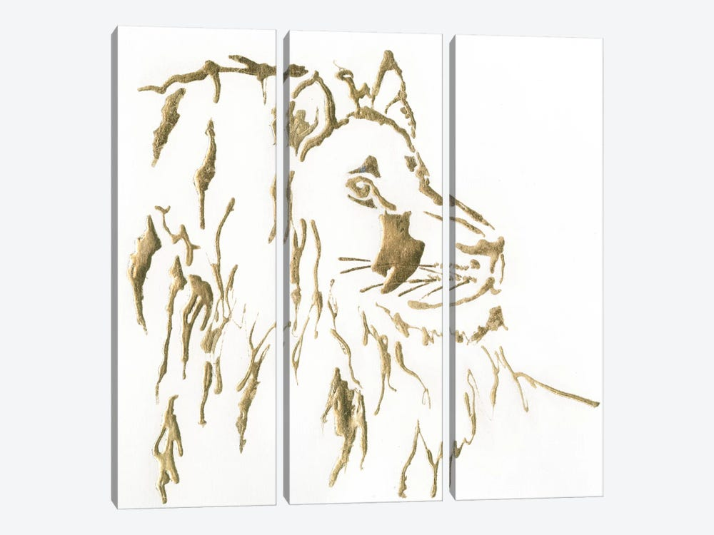 Gilded Lion by Chris Paschke 3-piece Canvas Art