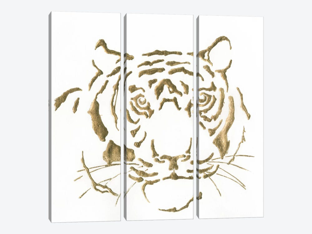 Gilded Tiger by Chris Paschke 3-piece Canvas Art
