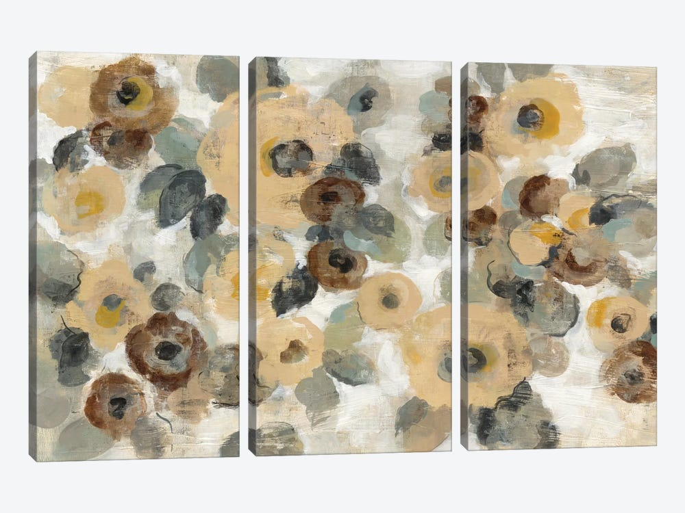 Neutral Floral Beige I by Silvia Vassileva 3-piece Canvas Artwork