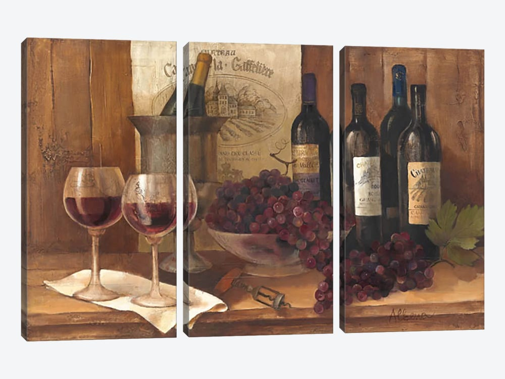 Vintage Wine by Albena Hristova 3-piece Canvas Wall Art