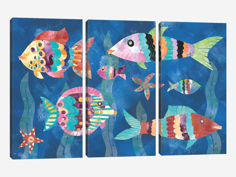 Boho Reef Fish III by Wild Apple Portfolio 3-piece Canvas Print