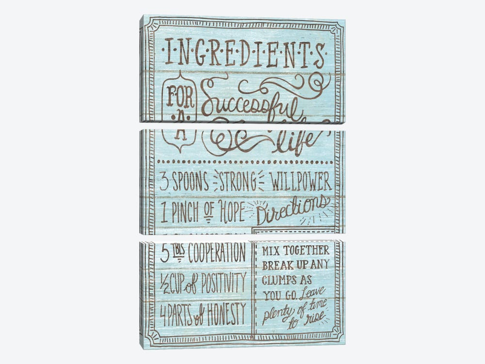 Ingredients For Life I by Mary Urban 3-piece Art Print