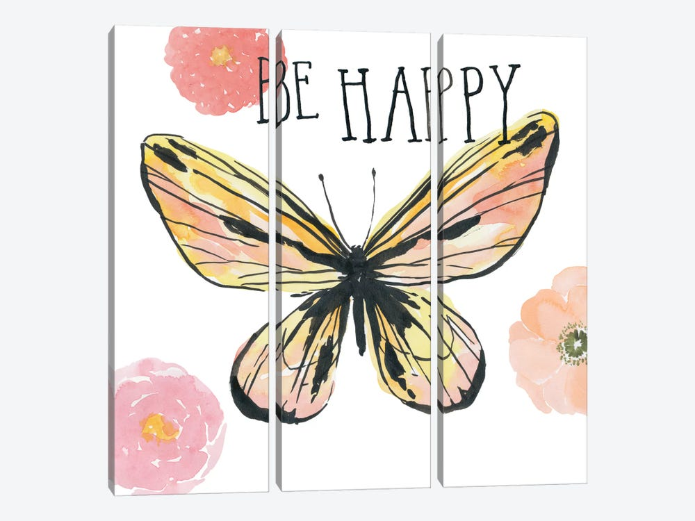 Beautiful Butterfly II by Sara Zieve Miller 3-piece Canvas Art Print