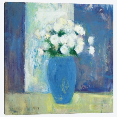 Ranunculi In Blue Vase Canvas Print #WAC5708} by Michael Clark Canvas Print