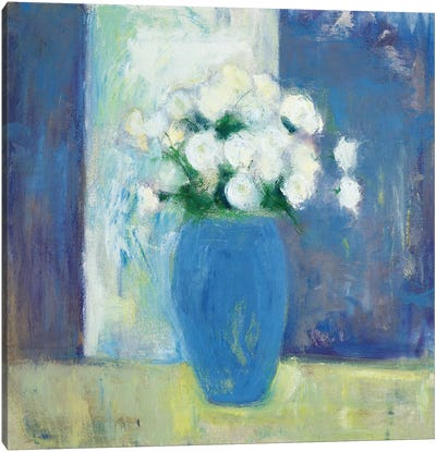 Ranunculi In Blue Vase Canvas Art Print