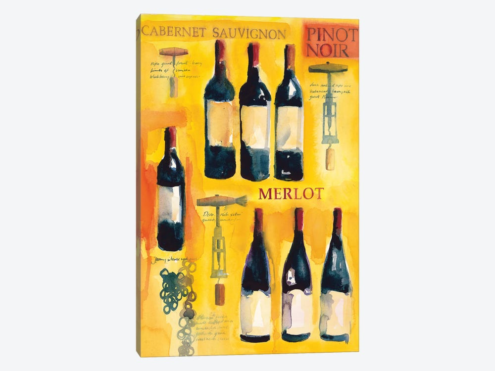 Red Wine Collage by Michael Clark 1-piece Canvas Artwork