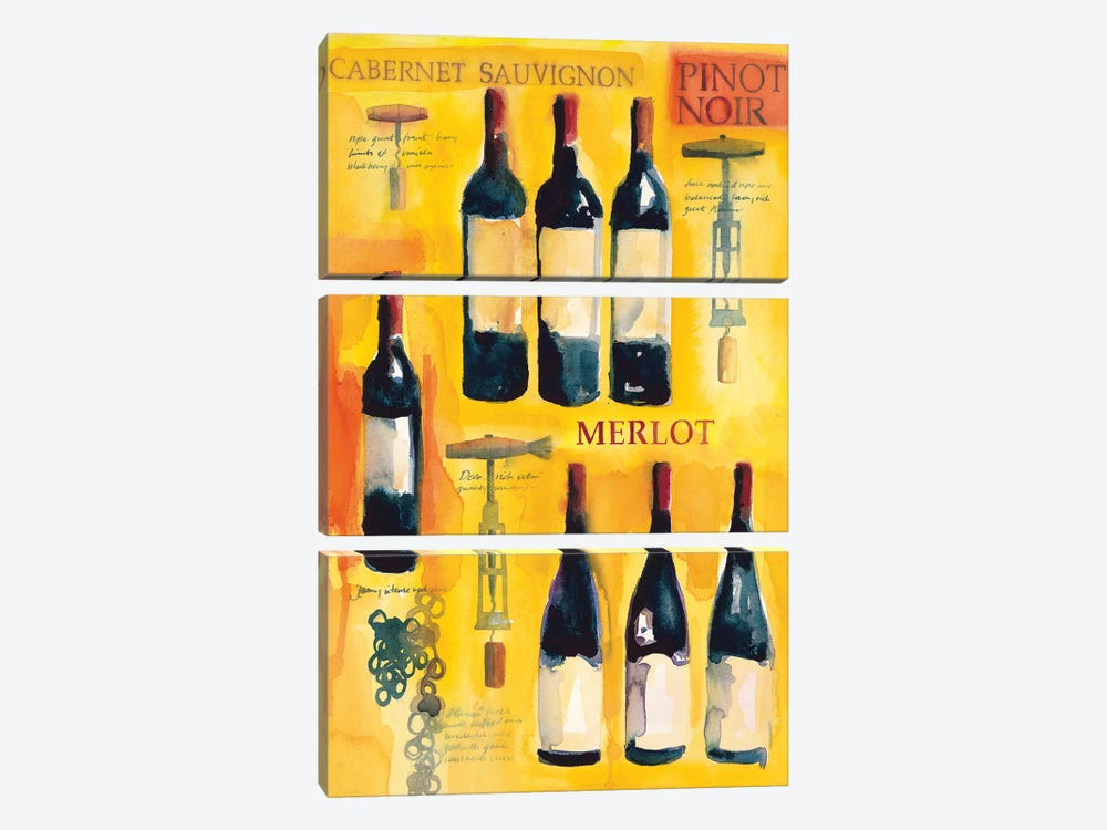 Red Wine Collage by Michael Clark 3-piece Canvas Art