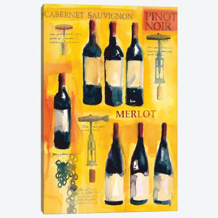 Red Wine Collage Canvas Print #WAC5709} by Michael Clark Canvas Print