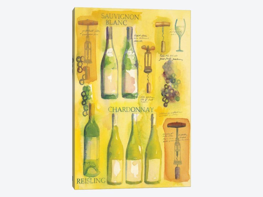 White Wine Collage by Michael Clark 1-piece Canvas Artwork