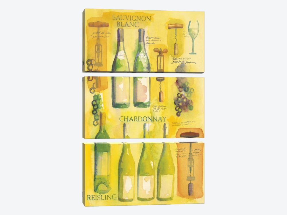 White Wine Collage by Michael Clark 3-piece Canvas Artwork