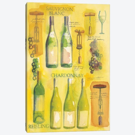 White Wine Collage Canvas Print #WAC5712} by Michael Clark Canvas Art