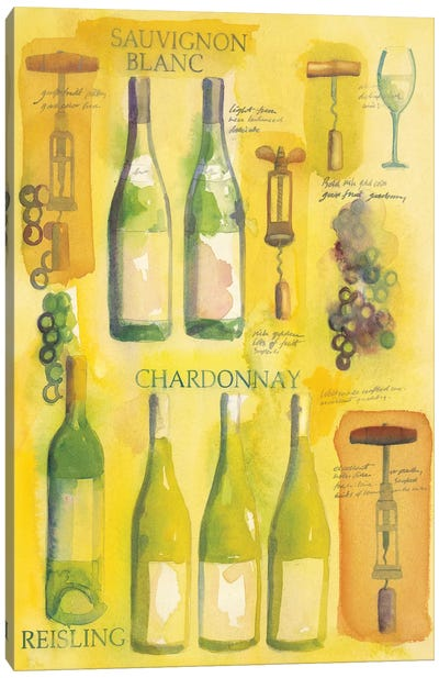 White Wine Collage Canvas Art Print