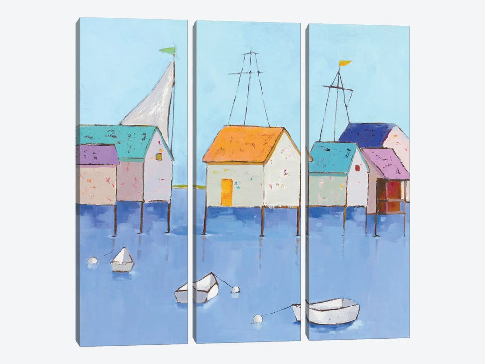 Boat House Row by Phyllis Adams 3-piece Canvas Print
