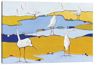 Marsh Egrets VI Canvas Art Print