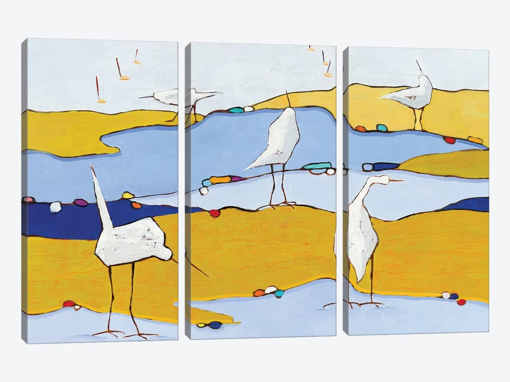 Marsh Egrets VI by Phyllis Adams 3-piece Canvas Art