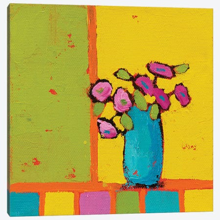 Turquoise Vase Canvas Print #WAC5727} by Phyllis Adams Canvas Artwork