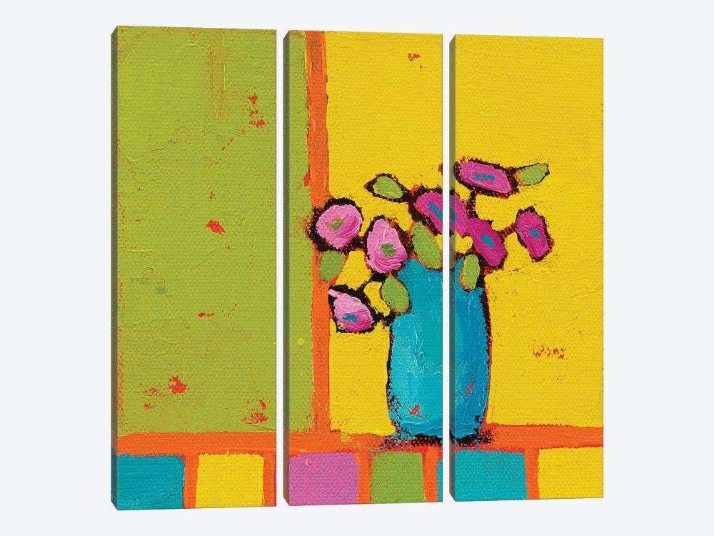 Turquoise Vase by Phyllis Adams 3-piece Canvas Wall Art